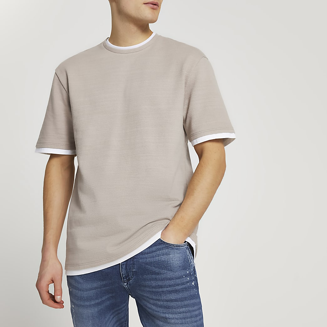 Ecru double layered slim fit t-shirt