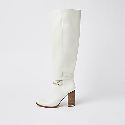 Ecru faux leather wood block heel boots