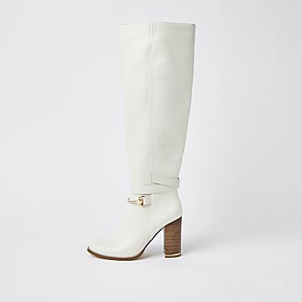 Ecru faux leather wood block heel boots