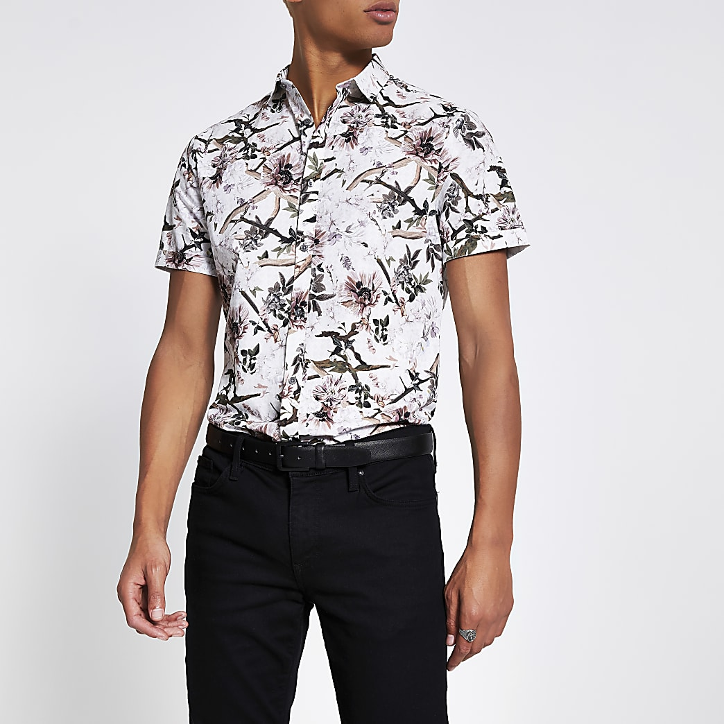 Ecru floral short sleeve slim fit shirt