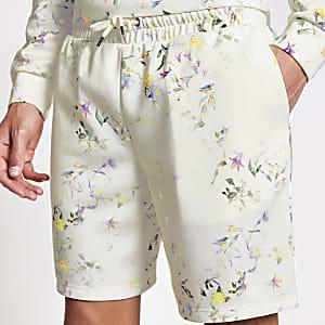 Short slim avec ceintureà cordonà fleurs écru