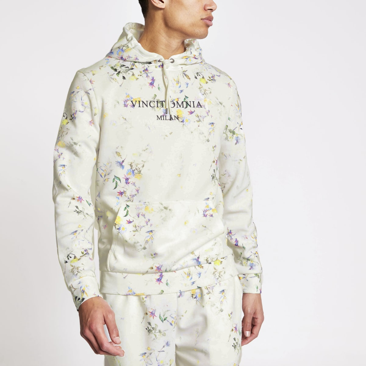 Ecru floral slim fit long sleeve hoodie