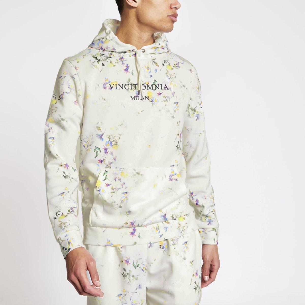Ecru slim-fit hoodie met bloemenprint en lange mouwen