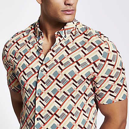 Ecru geo printed slim fit shirt