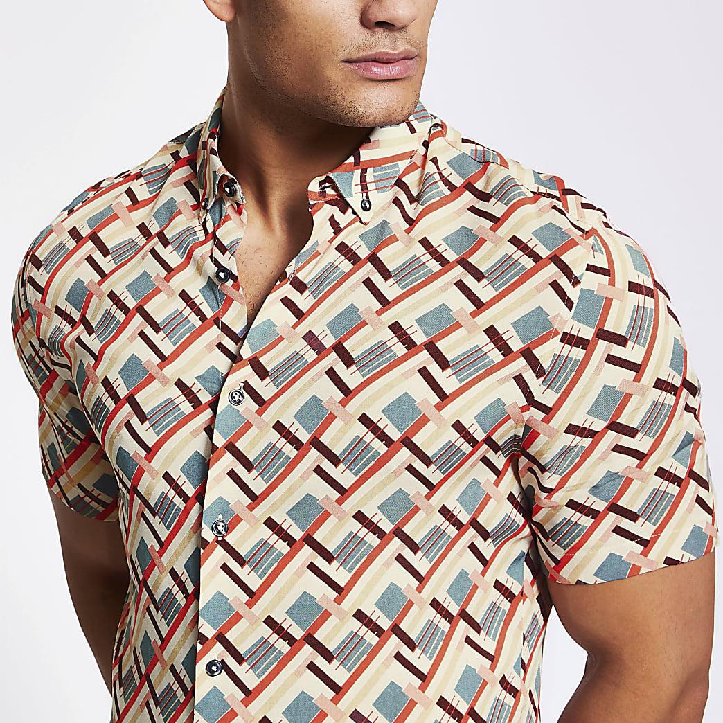 Ecru slim-fit overhemd met geoprint