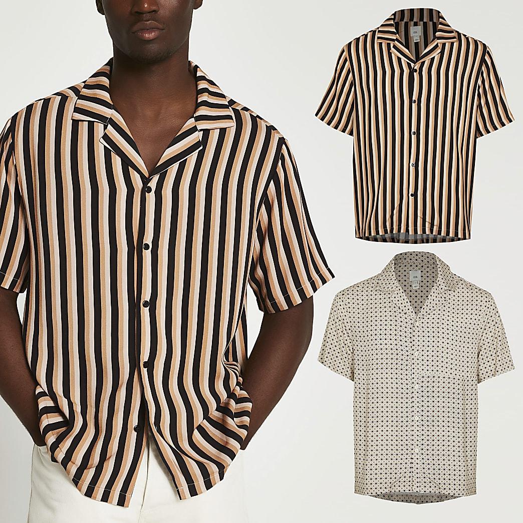 Ecru geometric and stripe shirt multipack