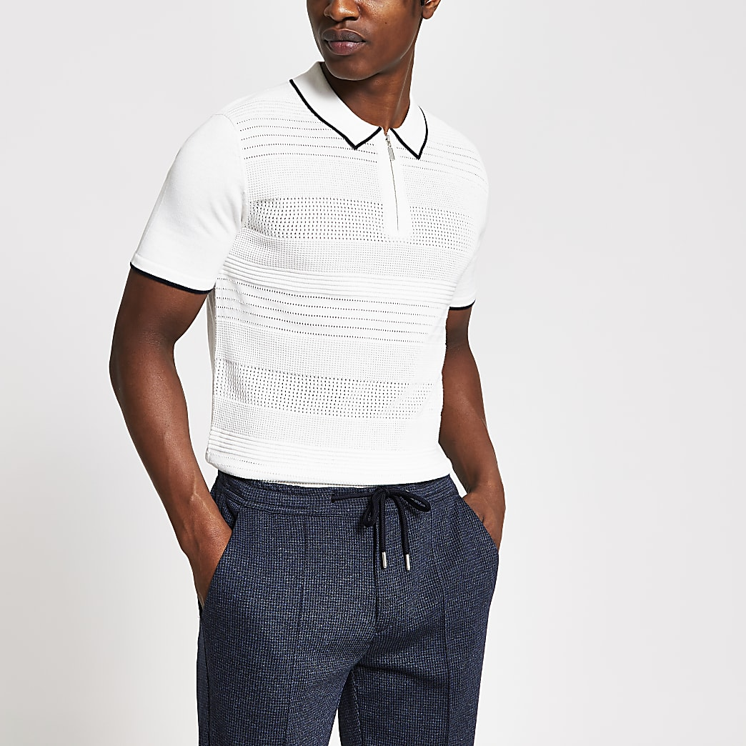 Ecru half zip slim fit knitted polo top