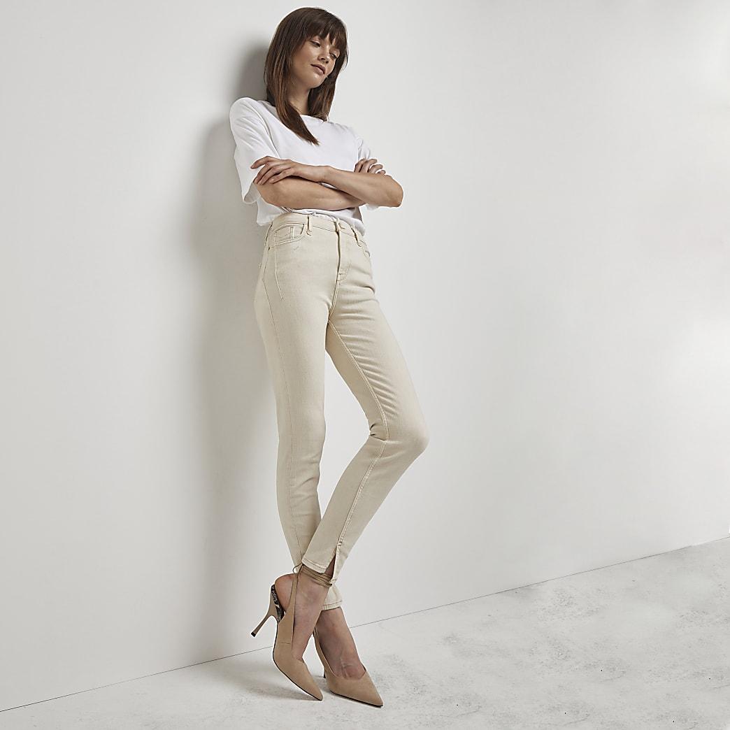 Ecru high rise skinny fit jeans