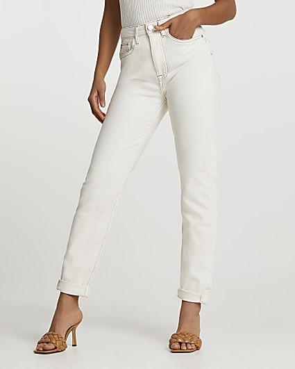 Ecru high waisted bum sculpt mom jeans