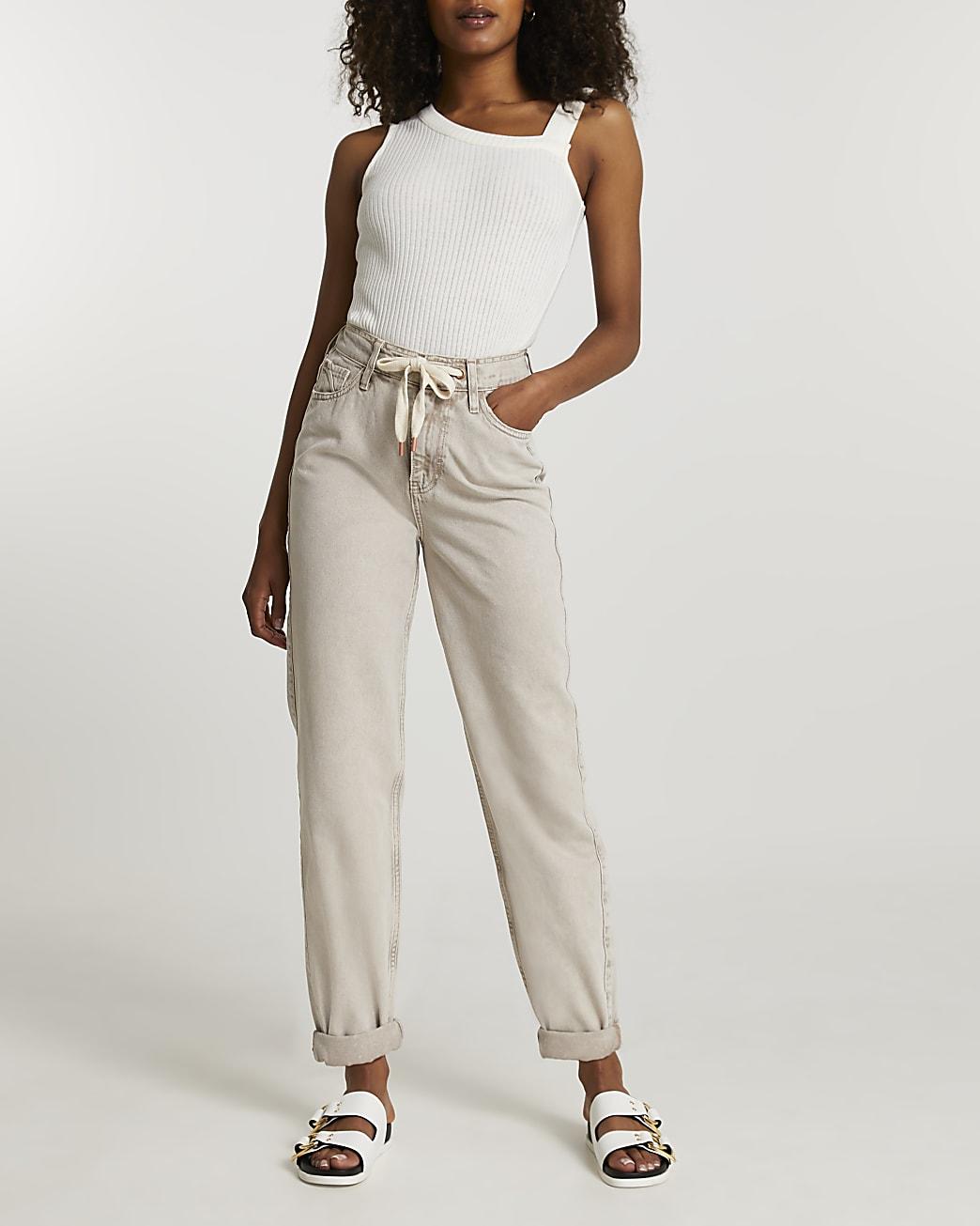 Ecru high waisted oversized mom jeans