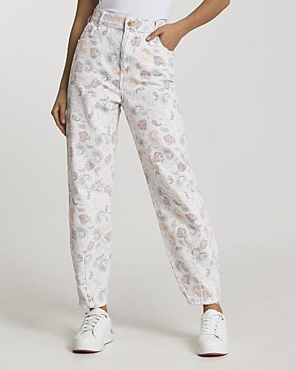 Ecru high waisted paisley printed jeans