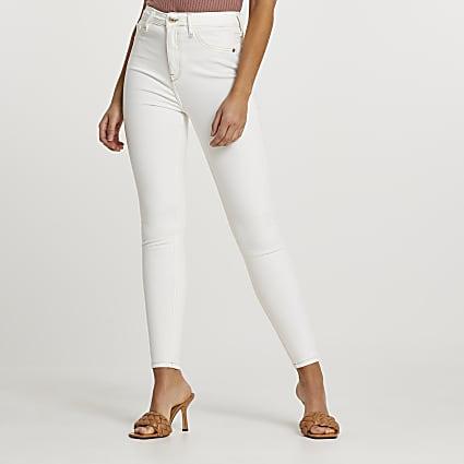 Ecru high waisted skinny bum sculpt jeans