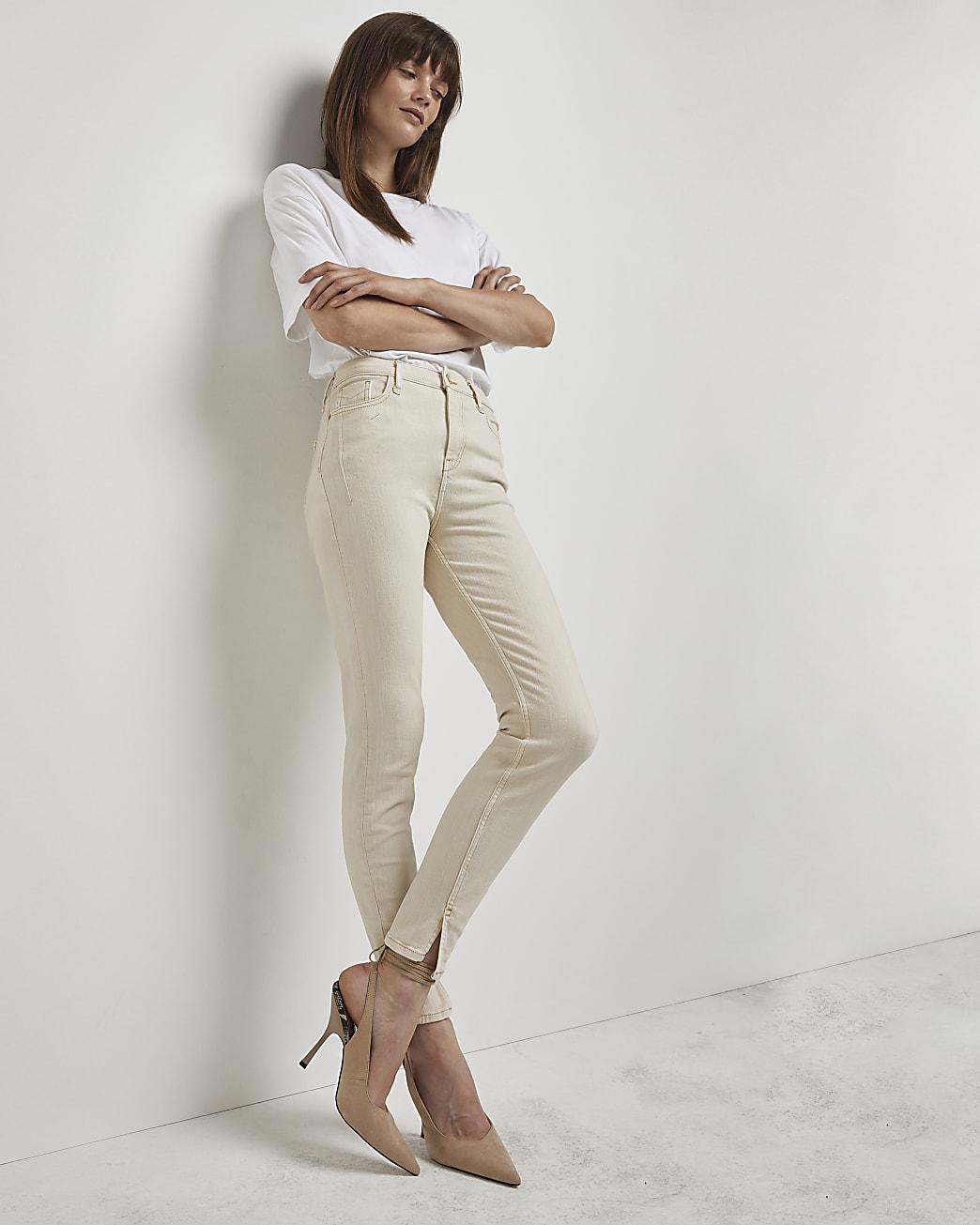Ecru high waisted skinny jeans