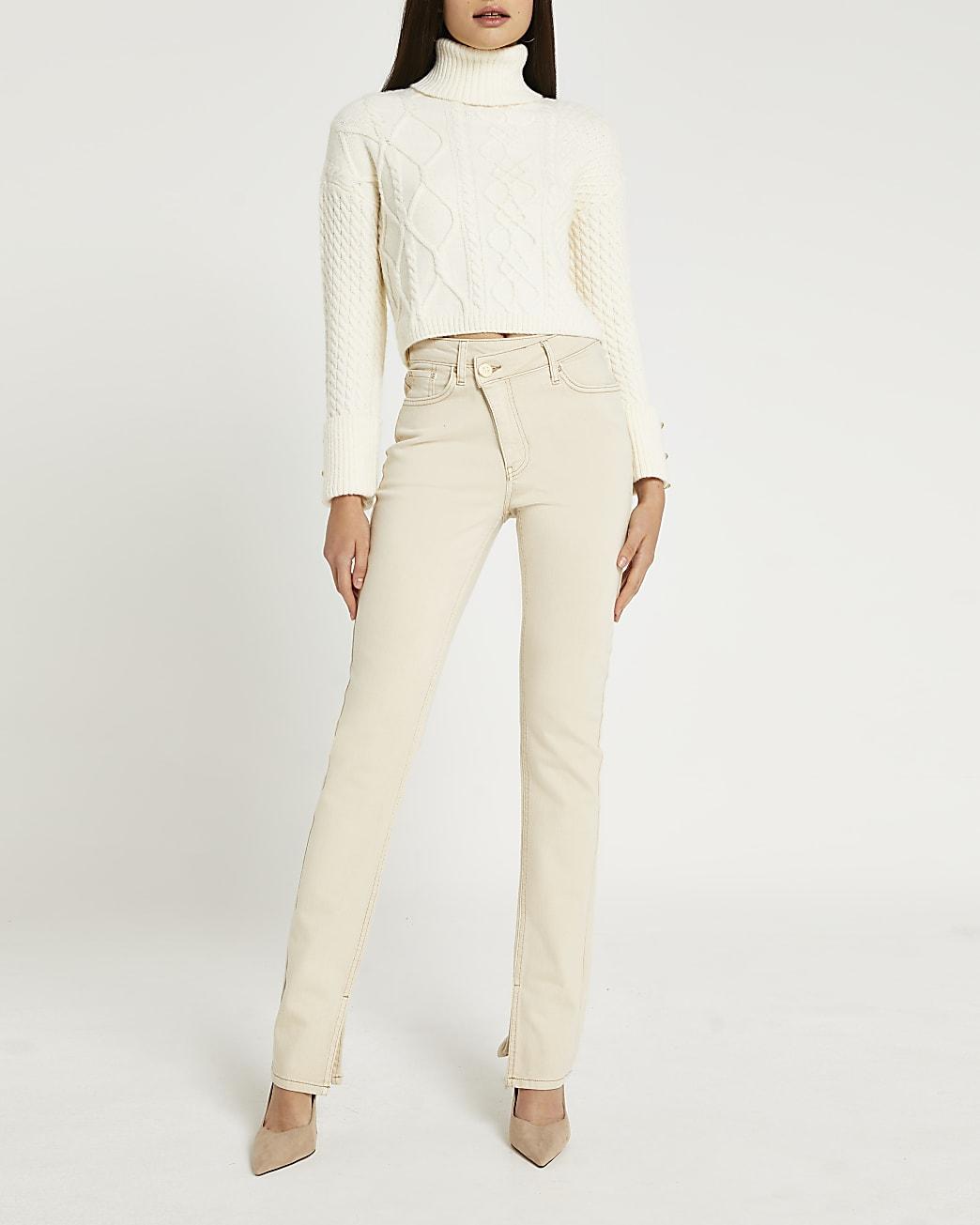 Ecru high waisted straight jeans
