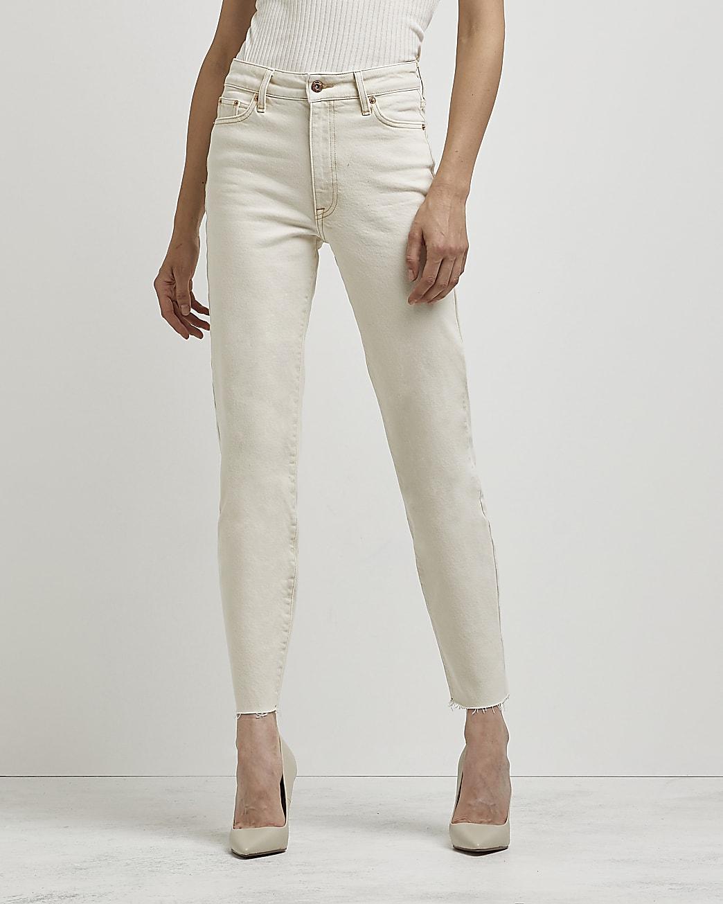 Ecru high waisted straight leg jeans
