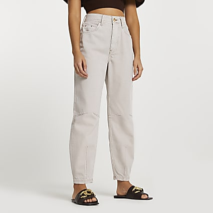 Ecru high waisted tapered jeans