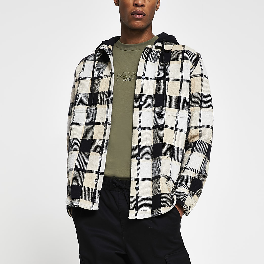 Ecru hooded check long sleeve shacket