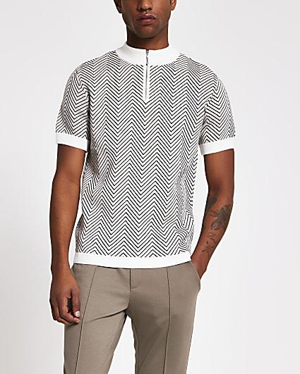 Ecru jacquard half zip slim fit knit T-shirt