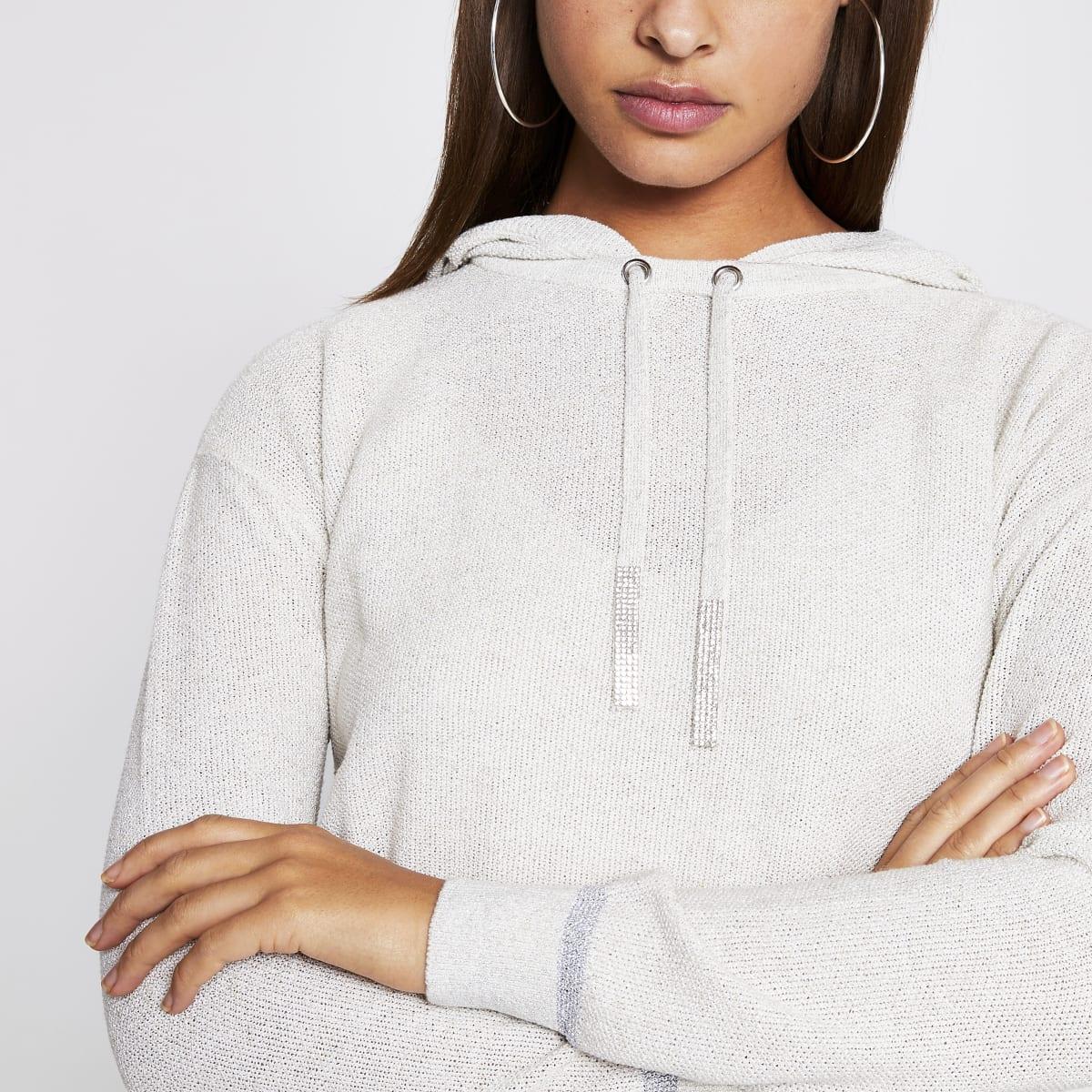 Ecru knitted diamante hoodie
