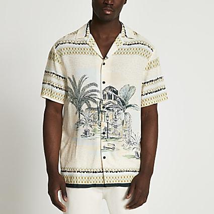 Ecru landscape revere short sleeve shirt