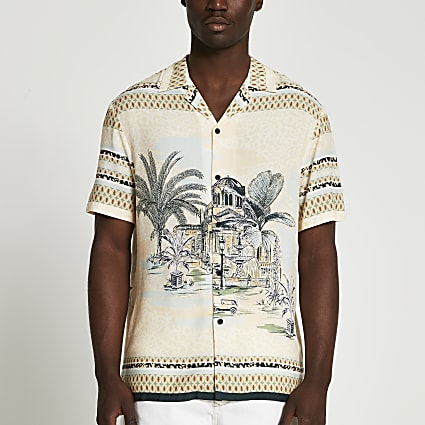 Ecru landscape slim fit revere shirt