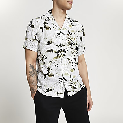 Ecru leaf slim fit revere shirt