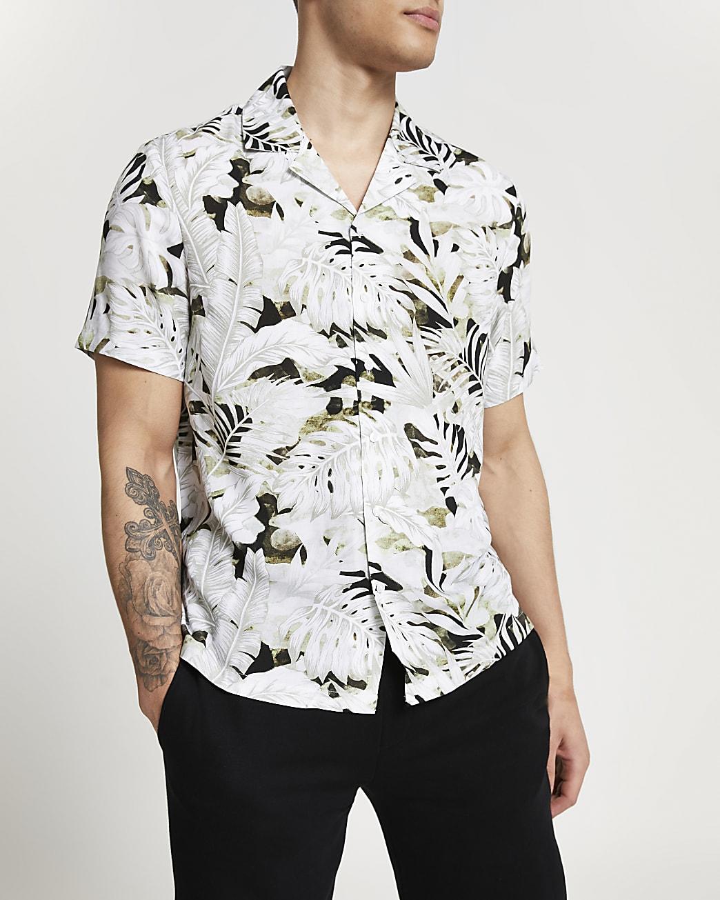 Ecru leaf slim fit short sleeve revere shirt