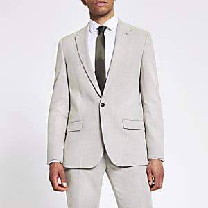 Slim Fit Anzugjacke aus Leinen in Ecru