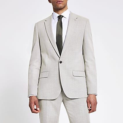 Ecru linen slim suit jacket