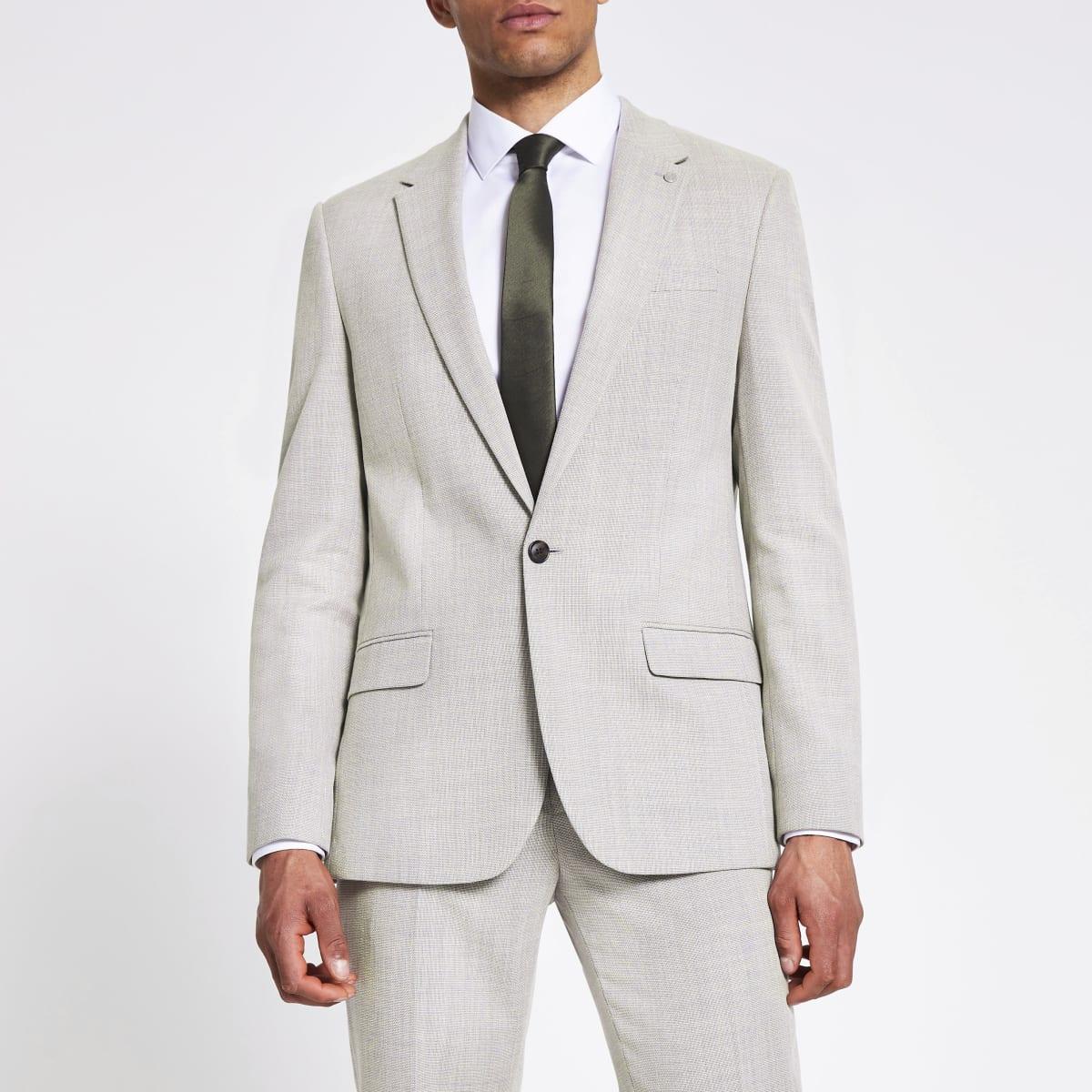 Ecru linen slim suit jacket
