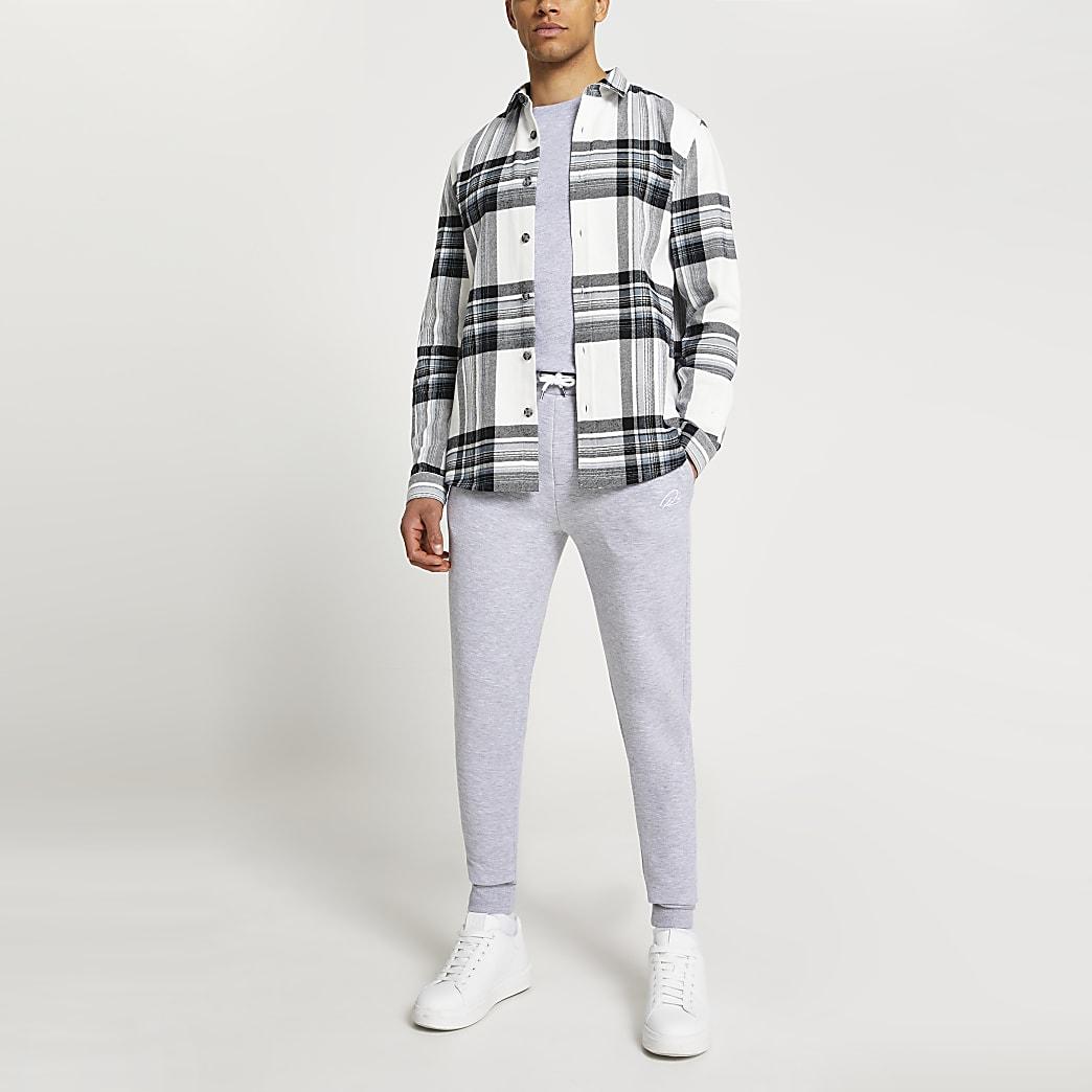 Ecru long sleeve check shirt