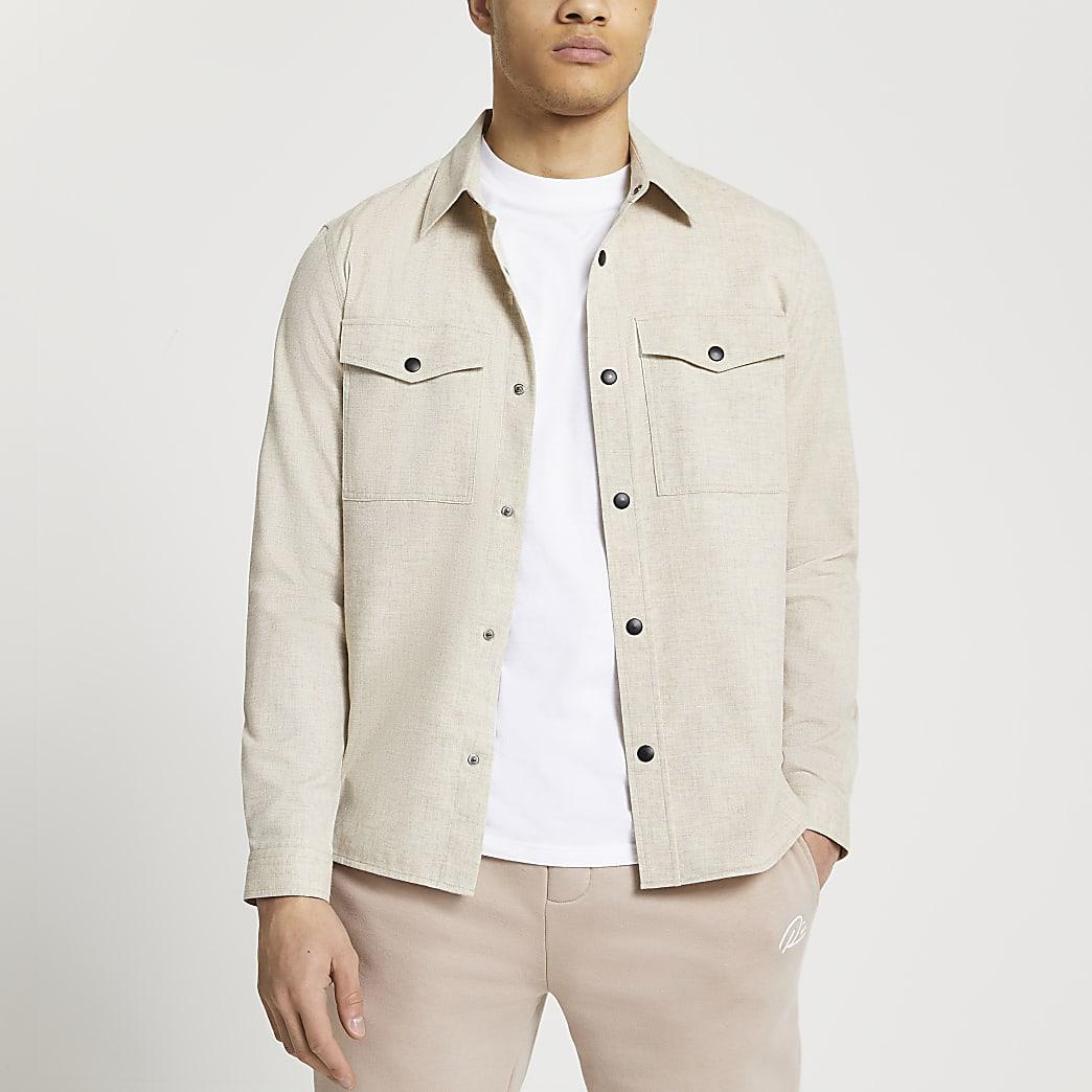 Ecru long sleeve flannel shirt