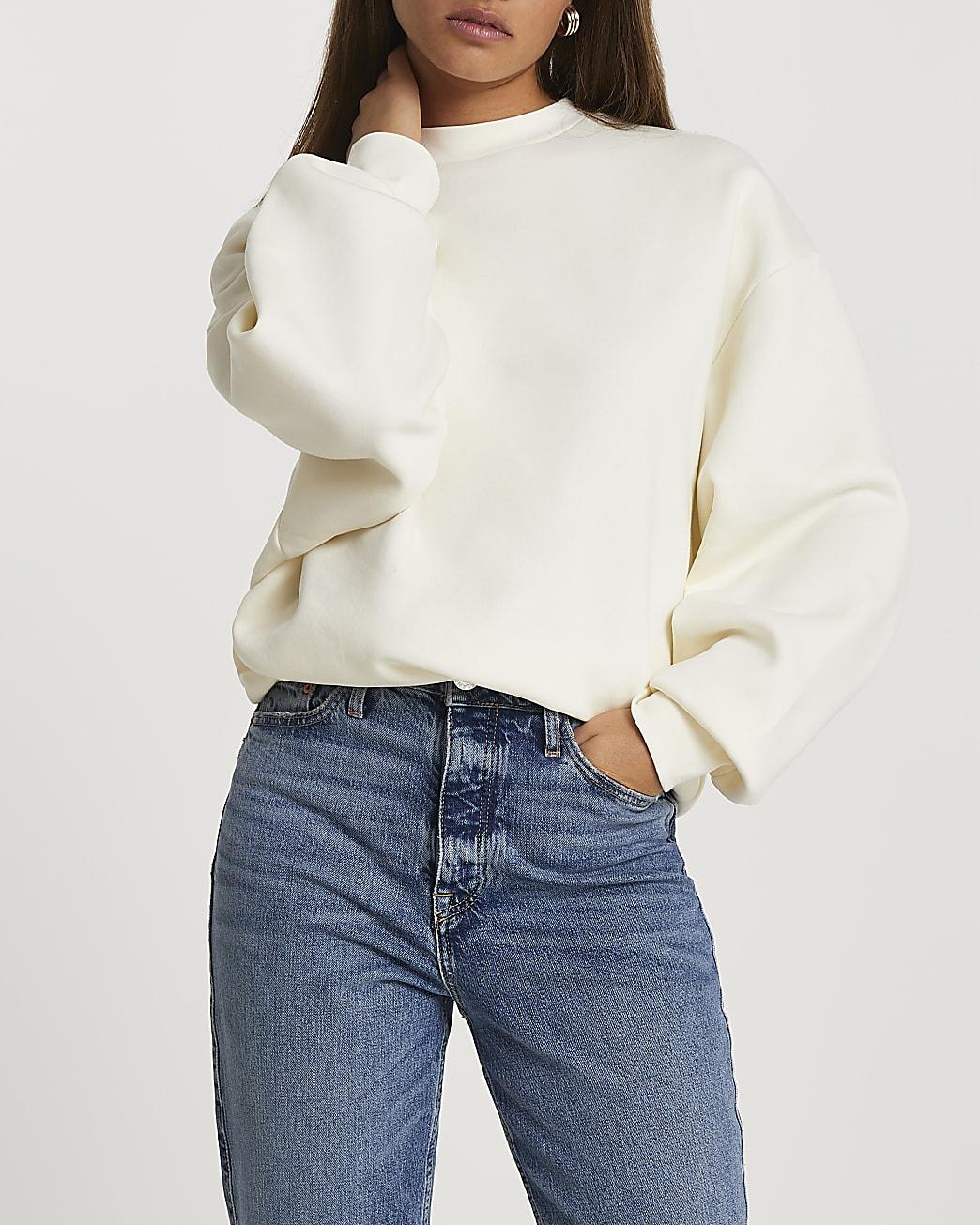 Ecru long sleeve oversized sweatshirt