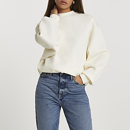 Ecru long sleeve oversized sweatshirt