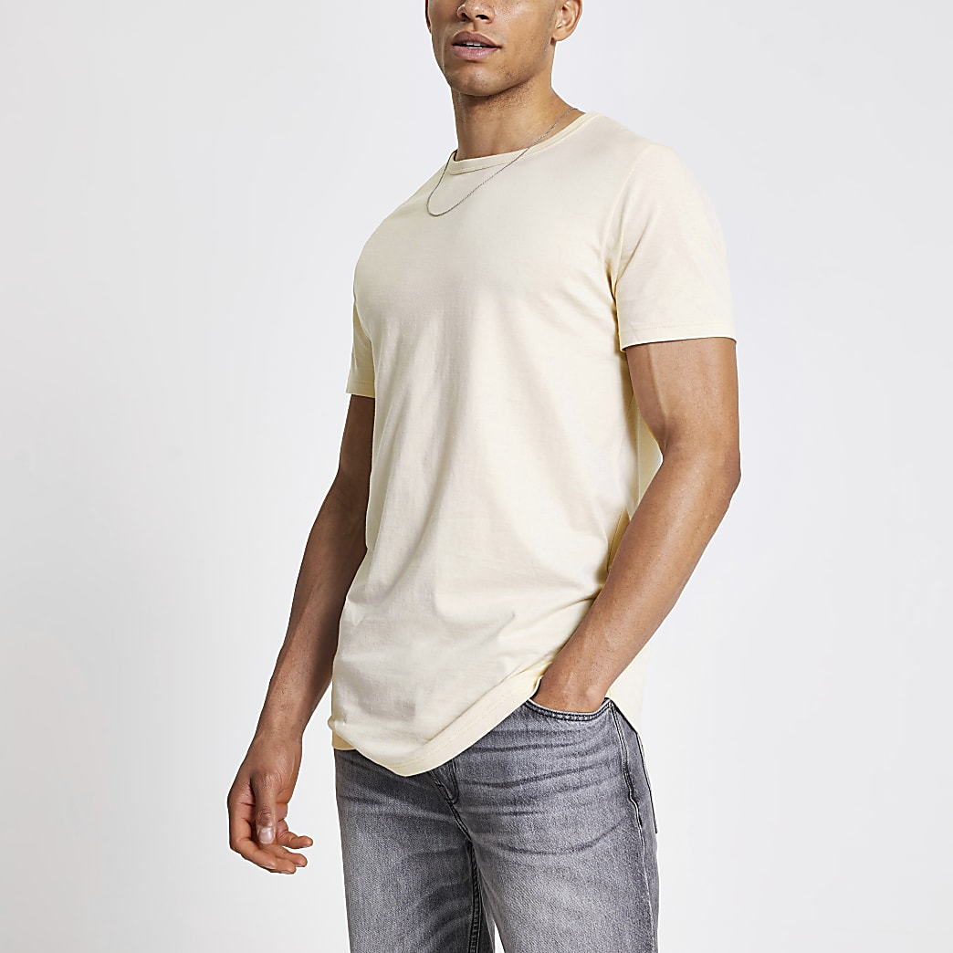 Ecru longline slim fit T-shirt