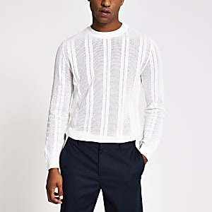 Ecru mesh stripe slim fit knitted jumper