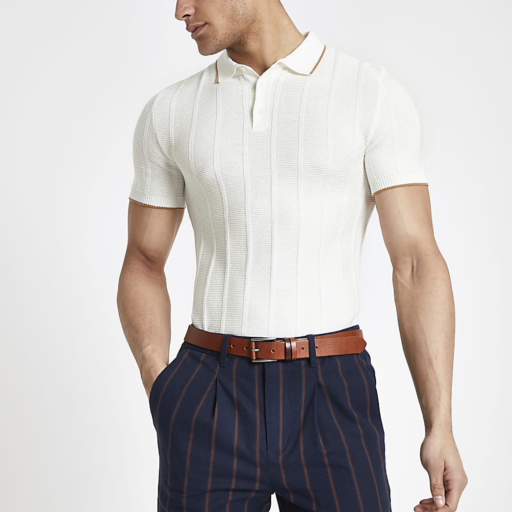 Ecru muscle fit half zip knit polo shirt