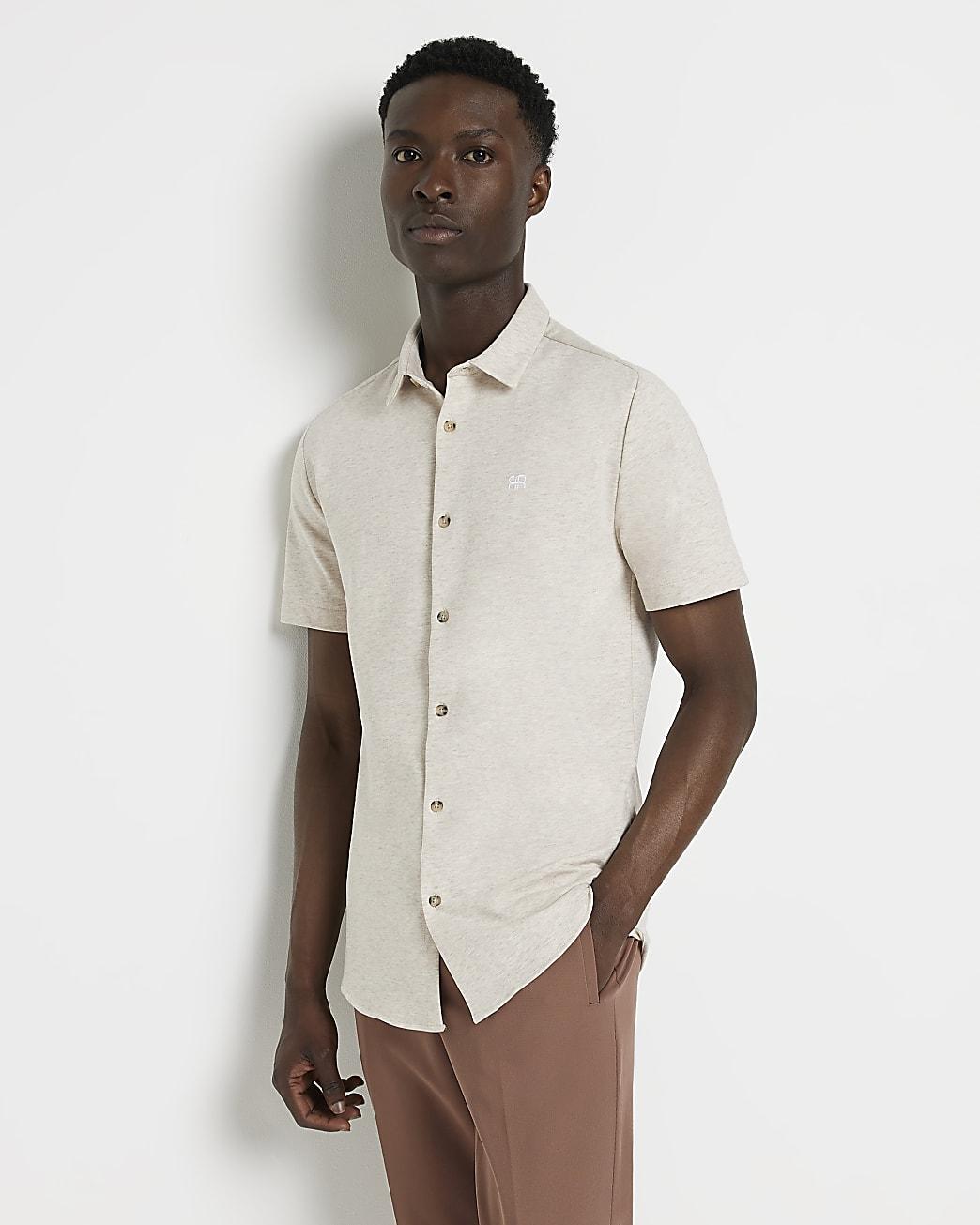 Ecru muscle fit short sleeve shirt