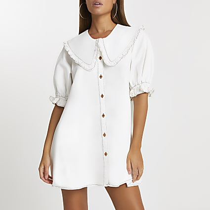 Ecru oversized collar shift dress