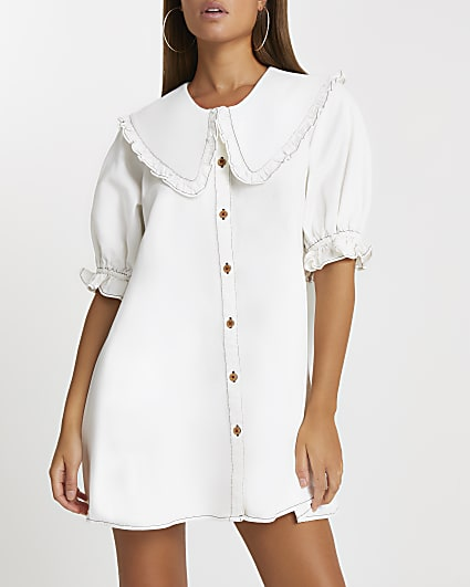 Ecru oversized collar shift dress