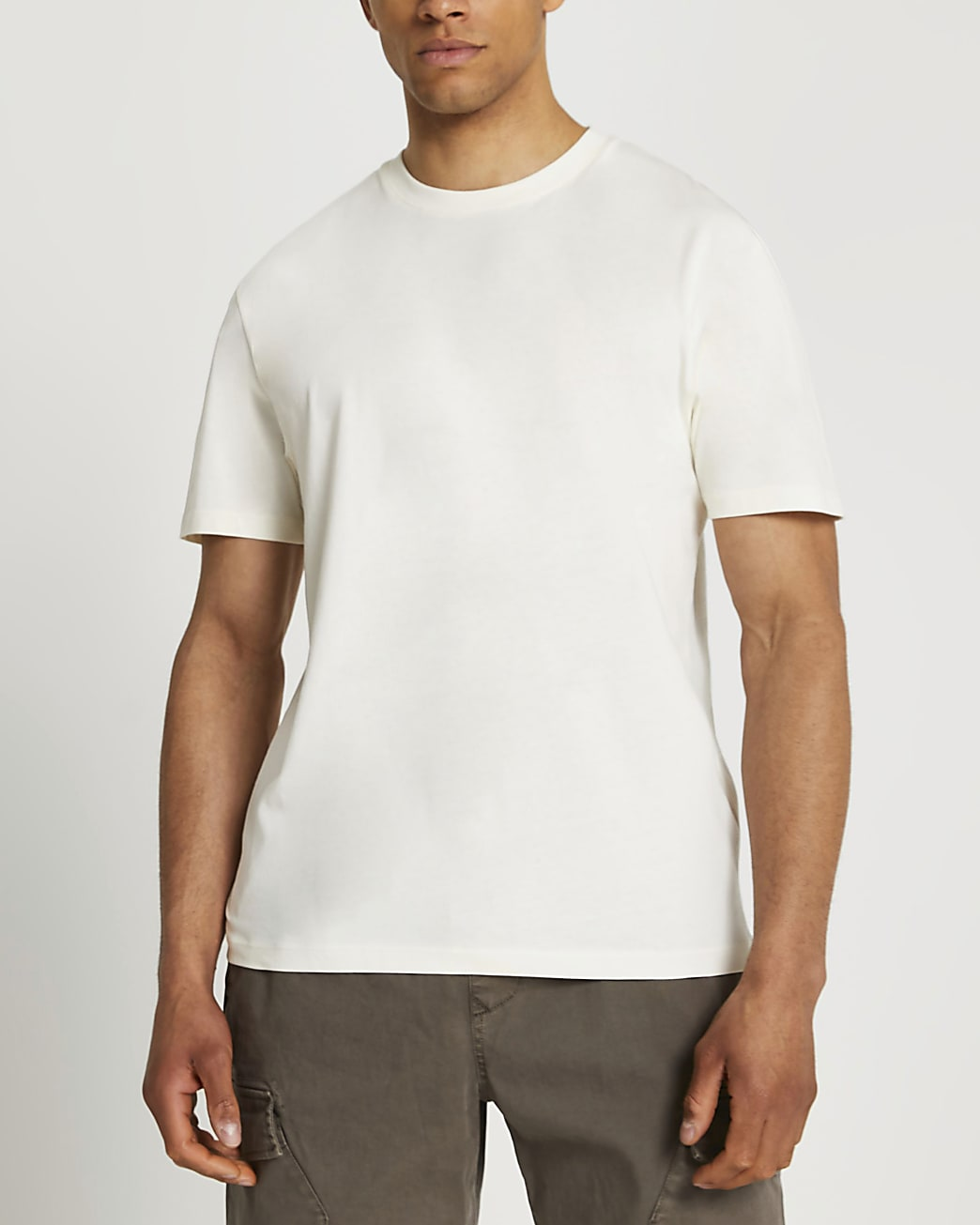 Ecru oversized fit tonal circle print t-shirt