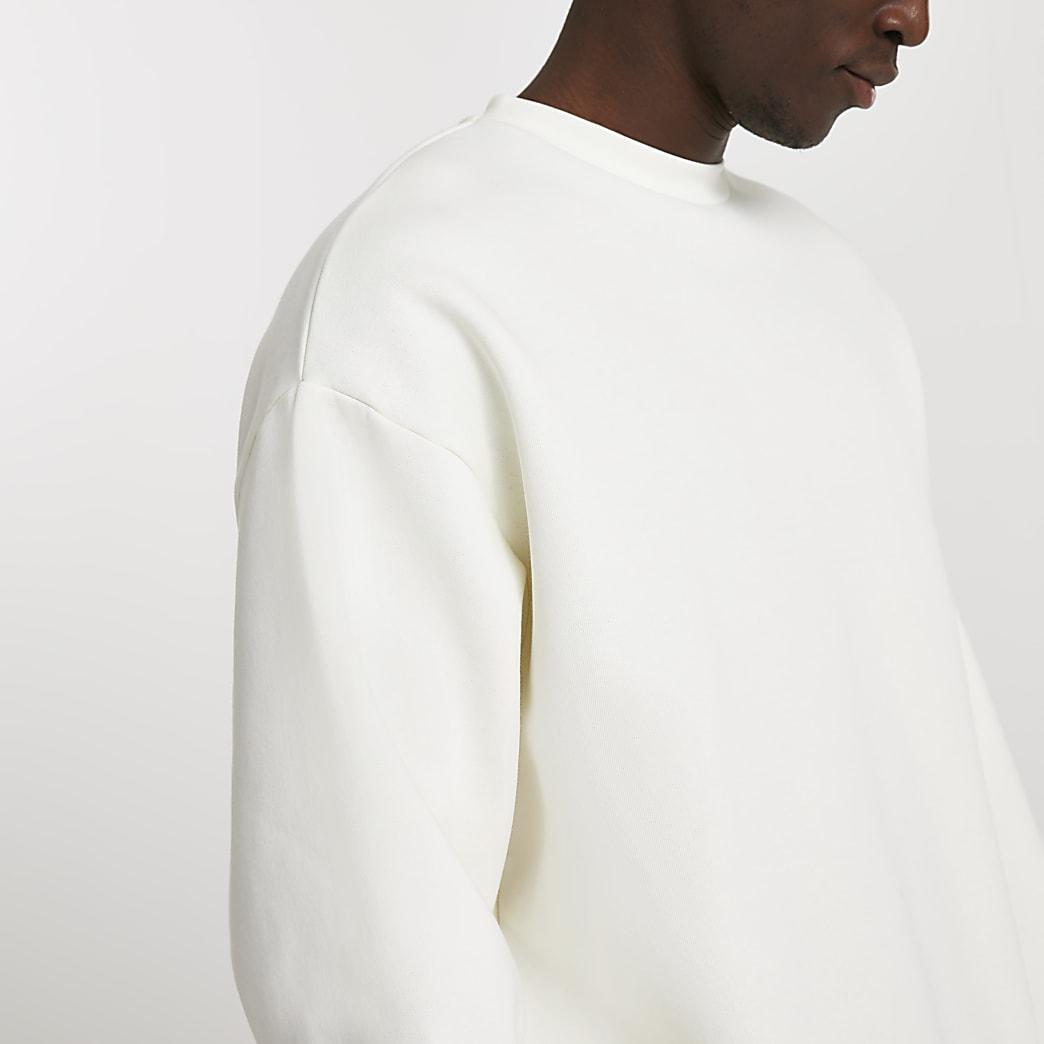 Ecru oversized long sleeve sweatshirt