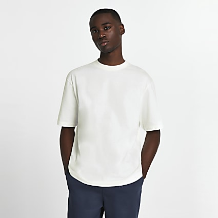 Ecru oversized short sleeve t-shirt