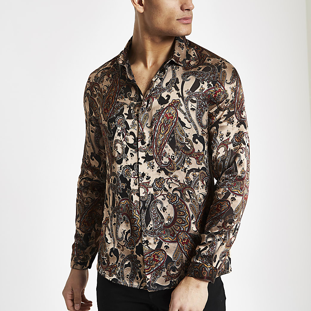 Ecru jacquard slim-fit overhemd met paisleyprint