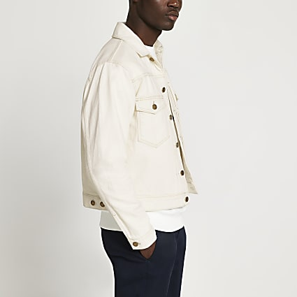 Ecru pleated denim jacket