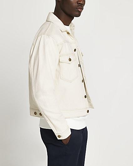 Ecru pleated denim jacket