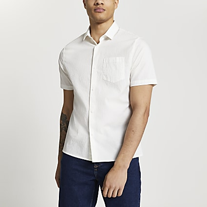 Ecru popper fastening slim fit shirt