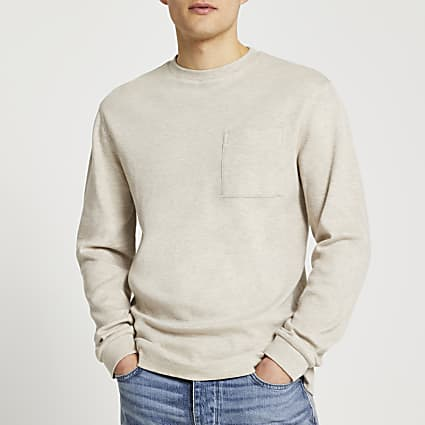Ecru premium essentials long sleeve t-shirt