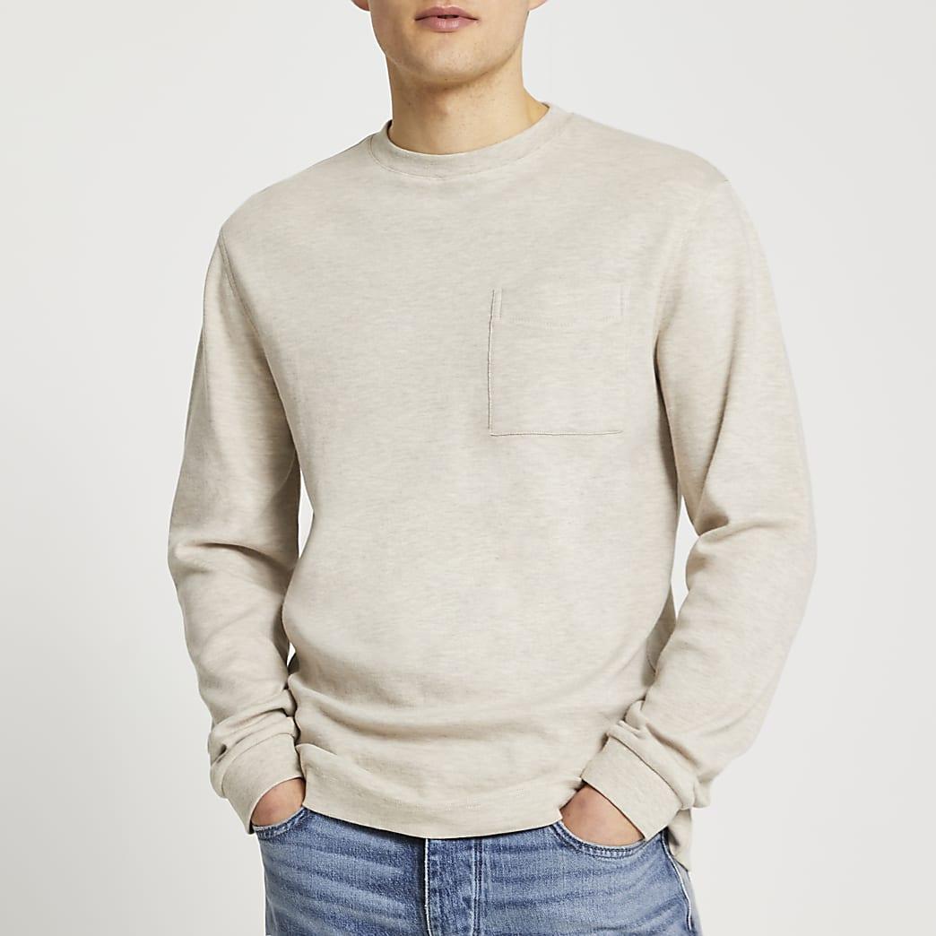 Ecru premium essentials long sleeve t-shirt