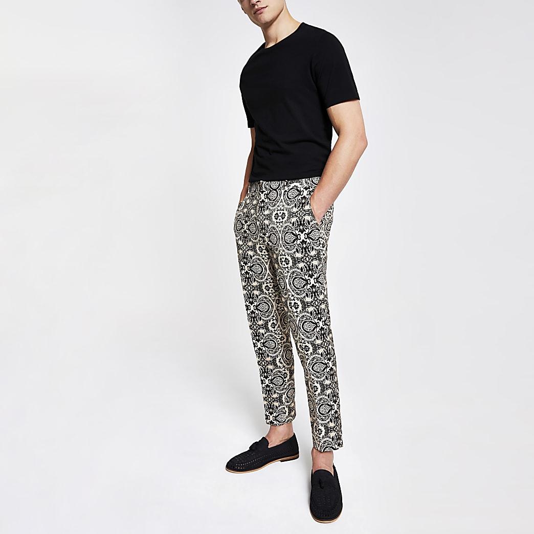 Ecru skinny cropped nette broek met print